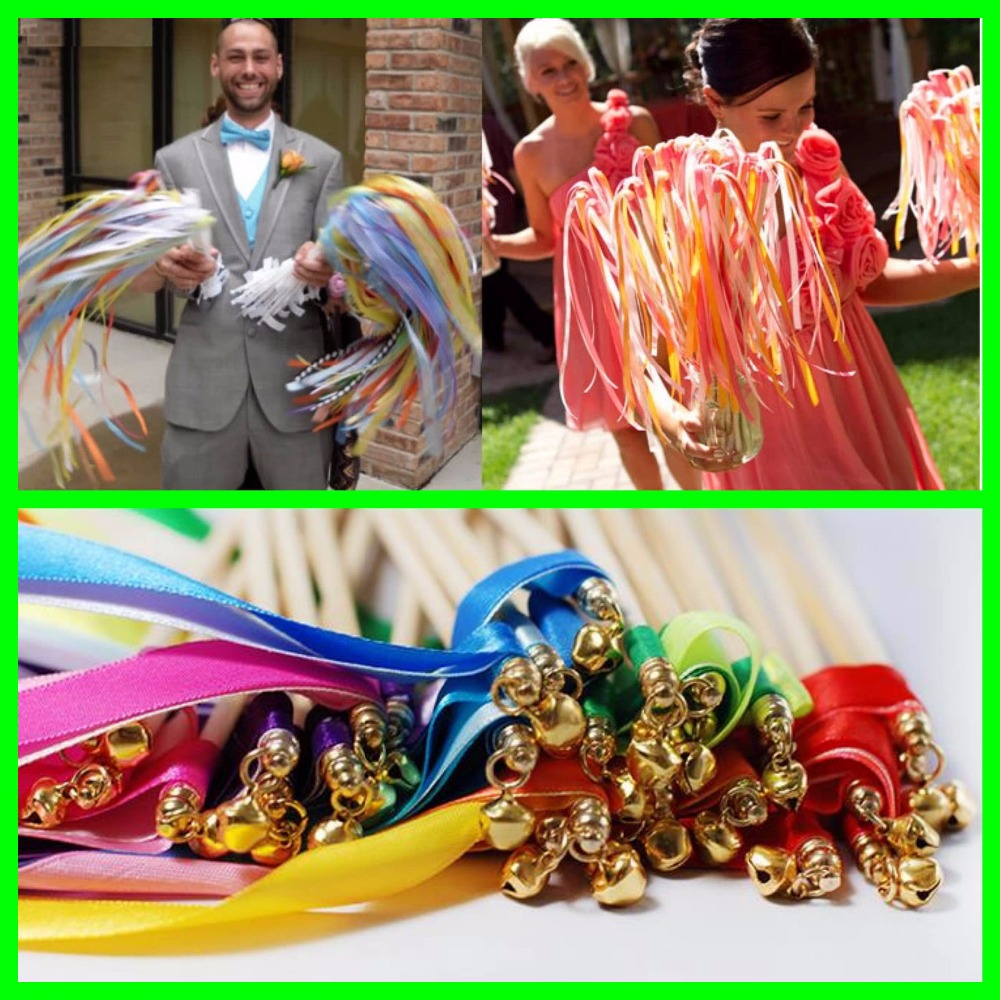 60pc Twirling Wedding Ribbon Wands Baby Shower Event Party Supplies Bell Streamers Wedding Wand Sticks  Decoracao Casamento