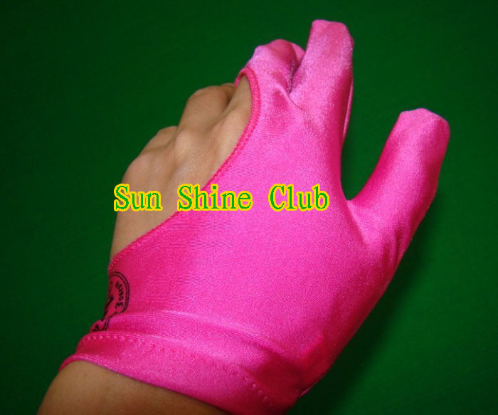 Free shipping 40pcs/lot high Elasticity 3 finger Pink billiard gloves/Pool Table Snooker billiard table Gloves(China (Mainland))
