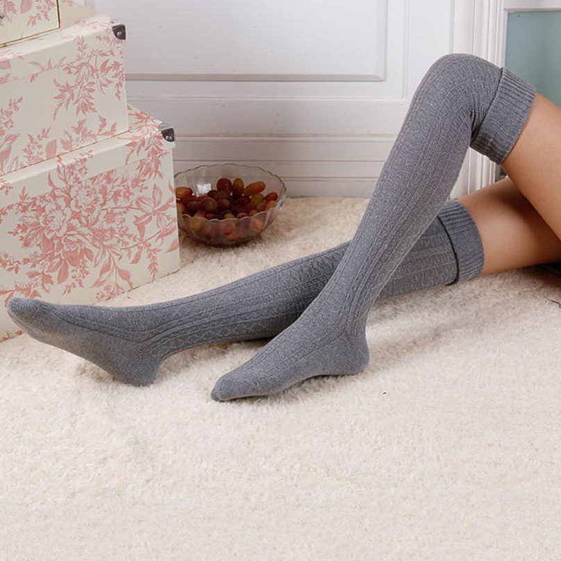 2015 NEW 8 Colors Fashion Sexy Thigh High Over The Knee Socks Long Cotton Stockings For Girls Ladies Women knitted stockings C85(China (Mainland))