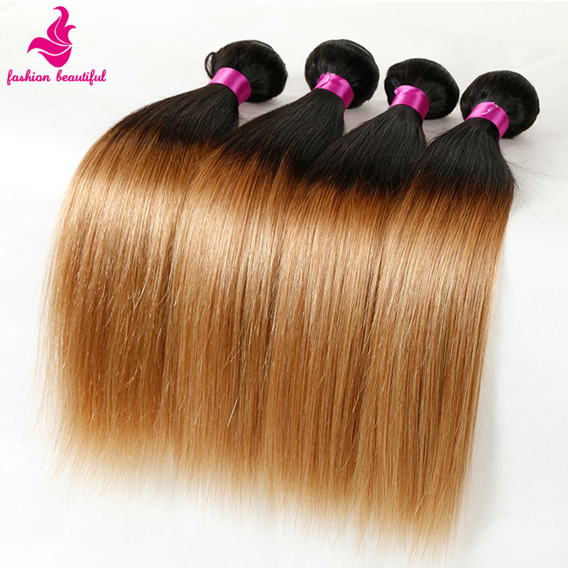 Brazilian Virgin Hair Straight Ombre Hair Extensions 4 Pcs Lot Ombre Brazilian Hair Bundles Two Tone Human Hair Weave 1B/27,100G