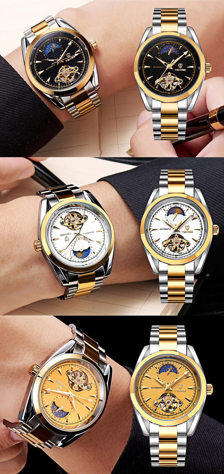 Relogio Masculino TEVISE Люксовый Бренд Часы Мужчины Tourbillon автоматические Механические часы Moon Phase Скелет наручные часы часы