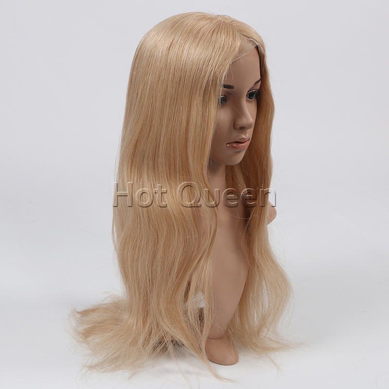 Eruopean Human Remy Hair Blonde #27 Dark Brown Lace Front Wig Swiss Lace Human Virgin Hair Silky Straight Gluless Full Lace Wig(China (Mainland))