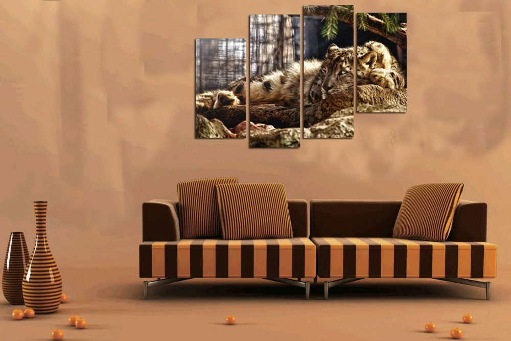 Home Decor Hd Print Animal Art Painting On Canvas No Frame Leopard Resting On A Stone 4pc In