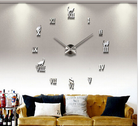Vintage Artistic Acrylic 3D Wall Decor Living Room Stickers Big Size Ecol Decration Sticker Clock - MY -Fashion Wardrobe store