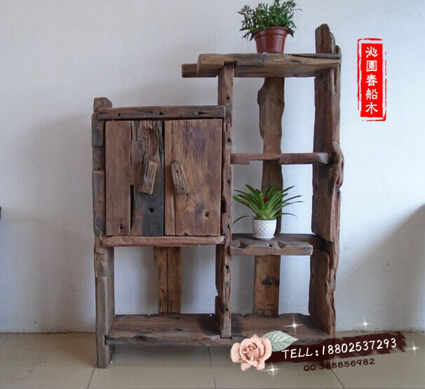 Old wooden boat boat Shelf original ecological wood curio weathered wood furniture Shelf showy display(China (Mainland))