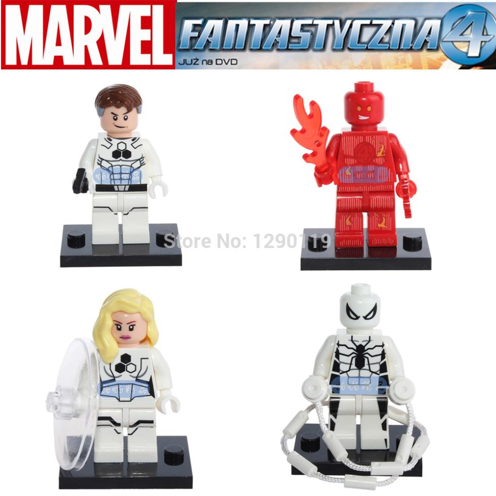 DECOOL 4pcs Marvel The Fantastic Four 4 Super Heroes Human Torch Invisible Woman Minifigures Blocks Silver Surfer Kids Toys(China (Mainland))