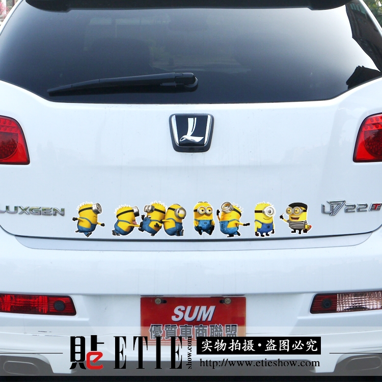 Wholesale Top Quality Car Decoration Family Window Stickers Minions Car Covers 3M Reflective Sticker Pegatinas Vinyl Decal Car(China (Mainland))