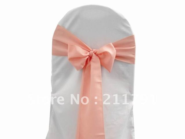 """Free Shipping 20*280cm (7.8"""")coral pink Simple Elegant Satin Wedding Theme  Party Chair  Sash Chair Bow More Colors Available"""