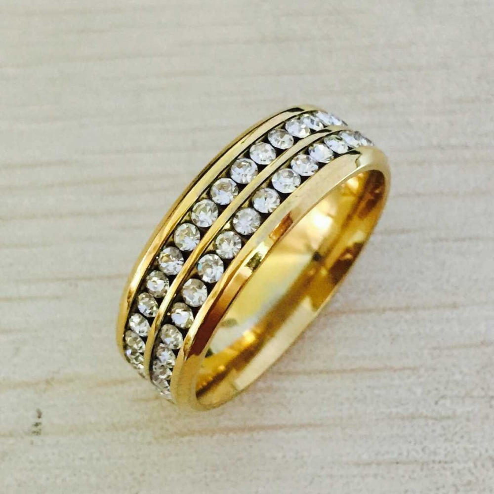 Luxury brand quality jewelry wide 8mm double row rhinestone CZ diamond 18K yellow gold filled anniversary rings for men women(China (Mainland))