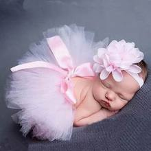 Light Pink Baby Girls Newborn Tutu Skirt + Flower Headband Newborn Infant Photography Props Princess Dancewear Costume Clothes(China (Mainland))