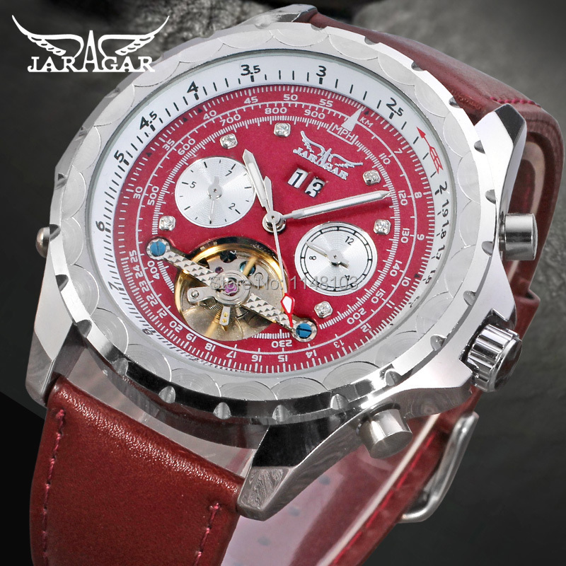SHIPPING FREE JARGAR MEN AUTOMATIC 2014 NEW DEEP RED GENUINE LEATHER BAND JAG070M3S4 5 HANDS(China (Mainland))