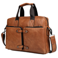 "Top Grade Mens Briefcase Handmade Weave Pattern Leather Business 14"" L"