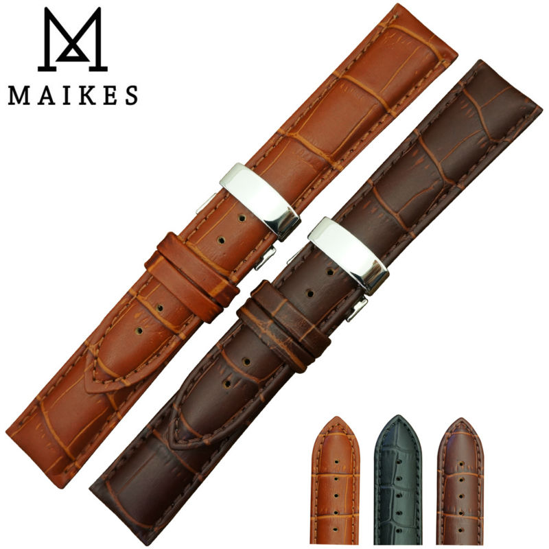 MAIKES Wholesale Price 14mm-24mm Genuine Leather Watch Band Strap Butterfly Buckle Black Watchbands For Daniel Wellington(China (Mainland))