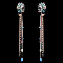 European and American pop all-match pure hand crafted crystal earrings EA-04228 fringed flowers(China (Mainland))