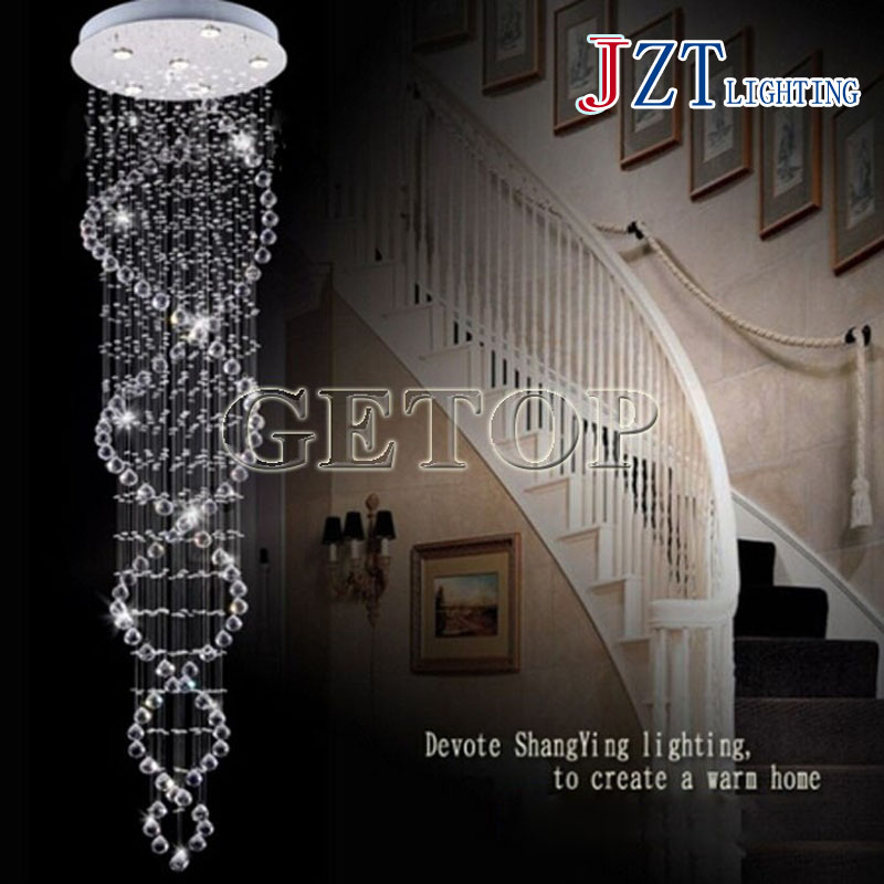 J best price LED Pendant Luxurious Double Entry Stair Hanging Light Crystal Droplight Stainless Steel Villa Spiral Light(China (Mainland))
