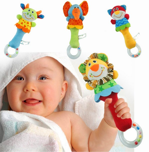2015 Hot 4 designs Soft toys Animal Model Handbells Rattles baby Rattle Cute Gift Baby Educational toy Age for 3M+(China (Mainland))