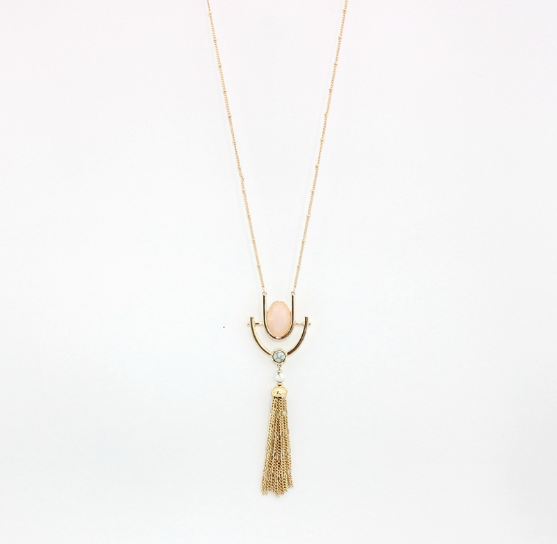 Pink Oval Stone Double U Shaped Tassel Line Chain Pendant Necklace Casual Punk Necklace for Women(China (Mainland))
