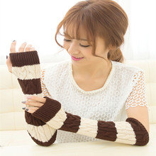 Fashion New long section of a fingerless gloves for women Winter 2-color knitted Arm warmers Striped gloves(China (Mainland))