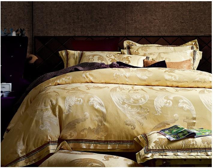 Luxury Champagne Gold Satin Jacquard Bedding Comforter Set