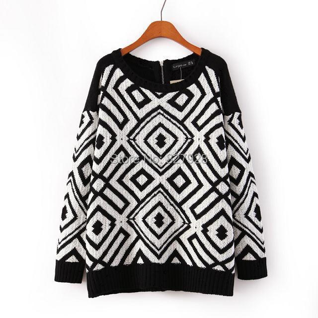 Geometric Square Vintage Sweaters 2015 Women Fashion Black White Knitted Long Sleeves Winter Oversize Pullovers Zipper - DreamDress store