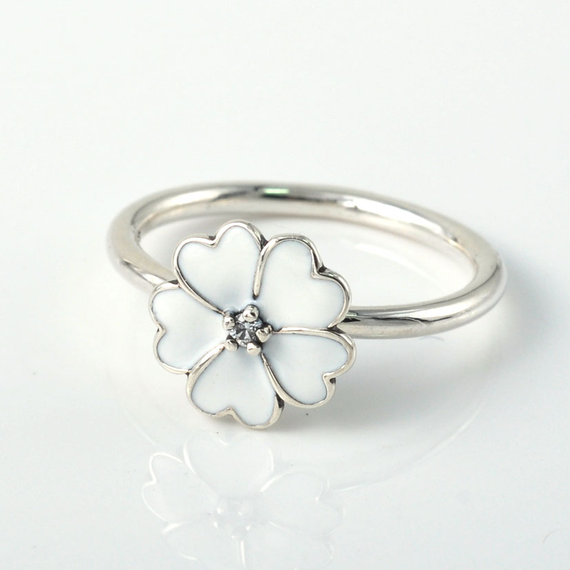 2015 New 925 Sterling silver Enamel Daisy Flower Ring for Women Wedding Engagement Rings Original European Fashion Jewelry(China (Mainland))