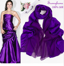 Vintage Scarf purple shawl for women100% Satin silk High-grade Night party Dress Accessory pashmina bandanas scarf for woman