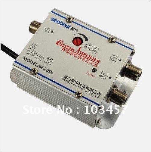 Free shipping, SB-8620D6, 2 way catv signal amplifer, Sat Cable TV Signal Amplifier Splitter Booster CATV, 20DB(China (Mainland))