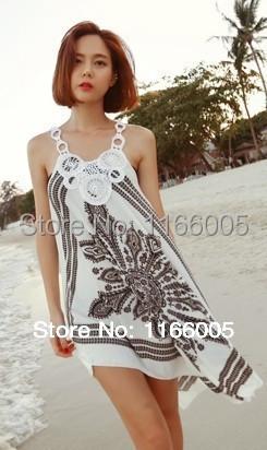Free hipping women's Summer Beach Dress Sexy Lace Crochet Beach cover ups women Print Floral swimwear dress Bikini Cover Up(China (Mainland))