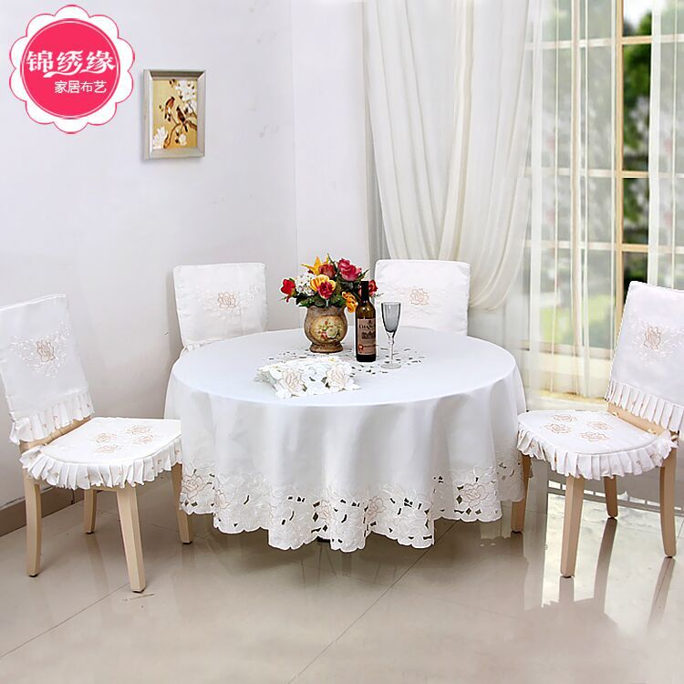 New Hot high quality openwork embroidery Table cloth home hotel and catering wedding round tablecloths Home Table(China (Mainland))