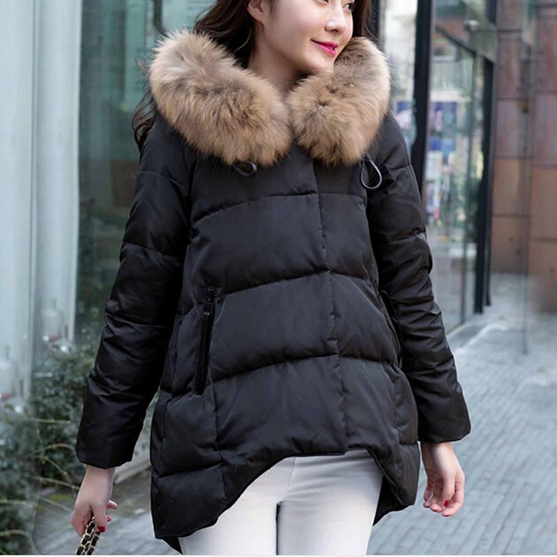 2015 new hot sale womens winter thick A line loose down jacket coats women long style fur collar warm jackets coat 3 colors Îäåæäà è àêñåññóàðû<br><br>
