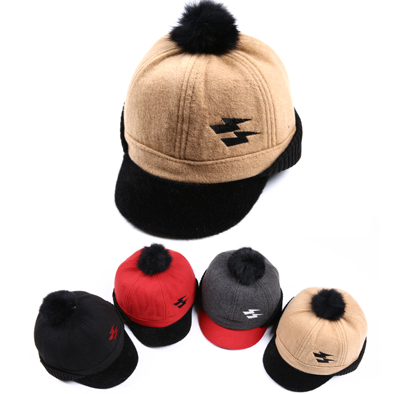 Rabbit Fur Ball Child Snapback Cap Kid Hip Hop Cap For Boy Hat For Girl Cap For Children Baseball Hat Baby Snapback Hat(China (Mainland))