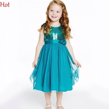 2016 Summer Baby Girls Solid Sleeveless Cute Mesh Sequined Patchwork A-Line Princess Birthday Party Dress with Sashes