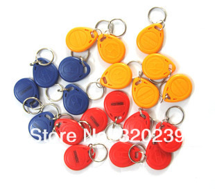 125Khz RFID Proximity ID Card Token Tags Key Keyfobs for Access Control Time Attendance 100pcs/lot Blue Yellow Red(China (Mainland))