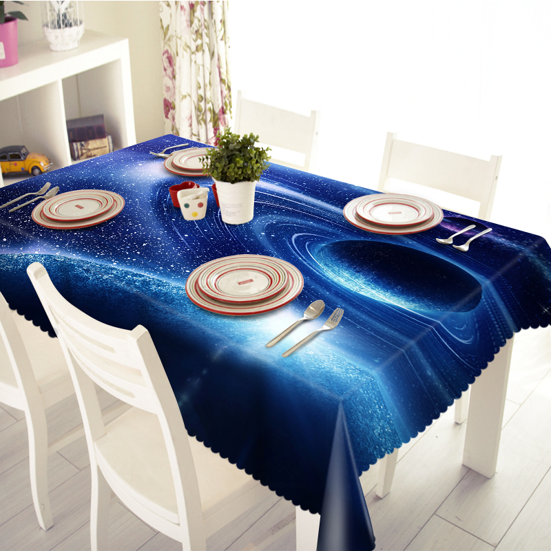 NEW 3D Tablecloths Universe Space Planets Stereoscopic Printing Waterproof/oil-Proof Washable Thicken Rectangle Dining Table(China (Mainland))
