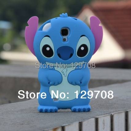 Lilo 3D Cartoon Stitch Soft Silicone Silicon Case Cover for Samsung Galaxy S4 SIV i9500 Skin Cover Movable Ear 10pcs/lot