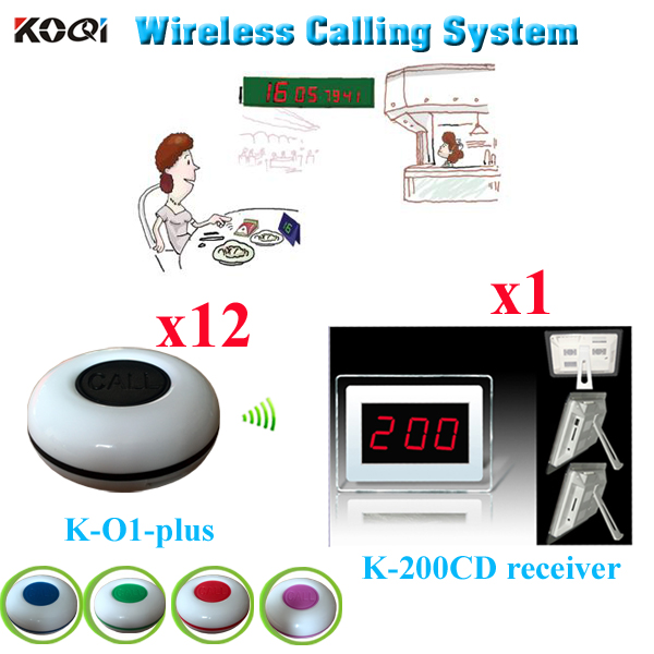 Table Ordering System Easy to Use Receiver Excellent Durable Wireless Calling Equipment (1 display+12 waterproof call button)(China (Mainland))