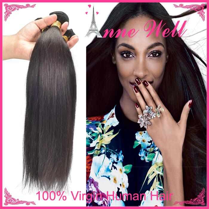 Free Shipping Virgin Brazilian Straight Cheap 100g/pc Brazilian Virgin Hair Bundles 3pcs Natural Black #1b Top Rated Beauty(China (Mainland))