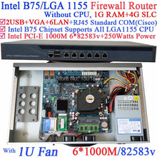 Computer router firewall without CPU with Intel PCI-E 1000M 6*82583v Lan 1G RAM 4G SLC(China (Mainland))
