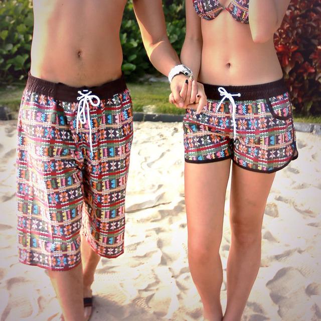 Новый быстросохнущие мода пляжные шорты для женщин и мужчин летний стиль купальники ...
