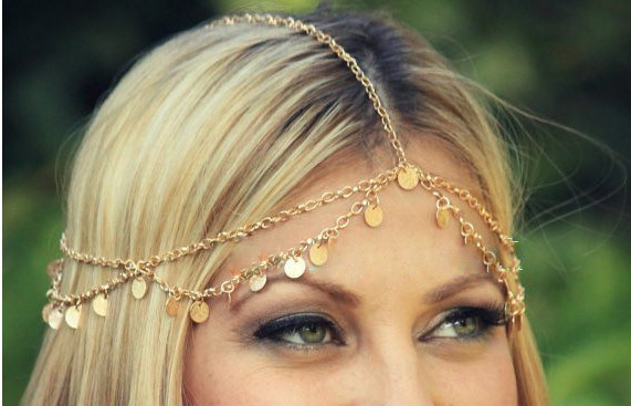 Free shipping ,Free Bohemian gold chain helmet to add sequins, Greek chain, jewelry, style wedding chain(China (Mainland))