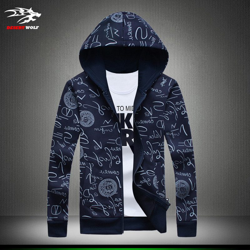 2016 Casual Hoodies Men Sweatshirt men's Sweatshirts fashion print Graffiti zipper Cotton Slim sport jackets Free shipping M-5XL(China (Mainland))
