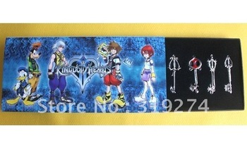Wholesell/Retail Free Shipping FS (10pcs Set)Kingdom Hearts II 8 KEYBLADE Sora Necklace Pendant Sword 8 in Weapon Set