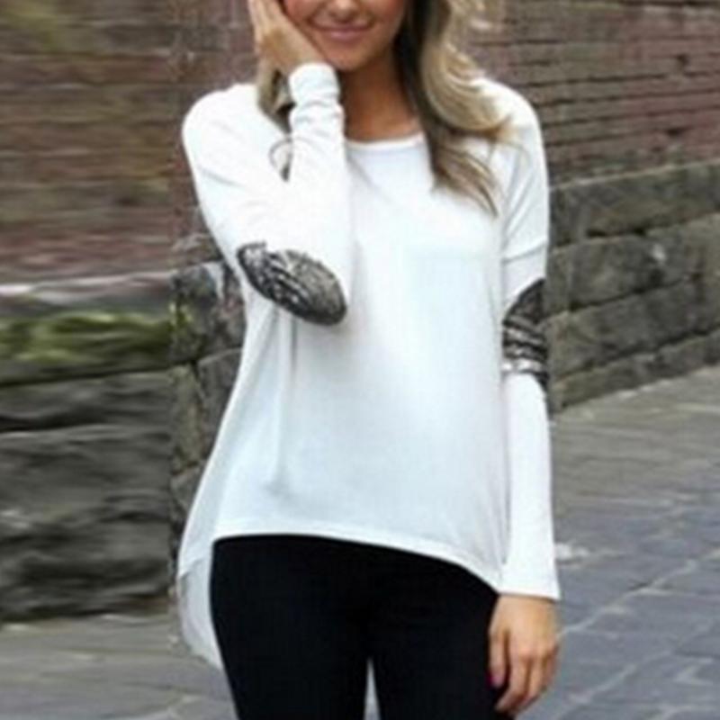 New fashion Casual Sequins Irregular shirt long sleeve tops Shirts Woman Cotton Long Sleeve Tops