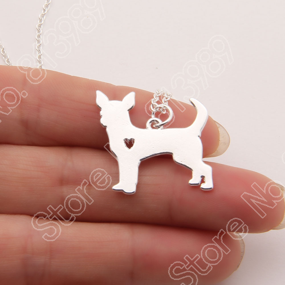 10pcs Gold Chihuahua Necklace Pendant Puppy Heart Dog Lover Memorial Pet Necklaces & Pendants Women Animal Charms Christmas Gift(China (Mainland))