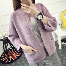 2016 sweater female cardigan autumn and winter o-neck wide-sleeved three quarter sleeve sweater pocket