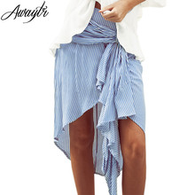 Buy Awaytr Summer Irregular Skirts Beach Striped Printed Skirts 2017 New Lady Boho Mini Skirt Women Casual Striped Skirts C5004 for $11.81 in AliExpress store