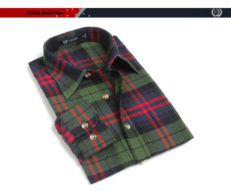 Men's Long Sleeve Plaid Shirts Flannel (1)