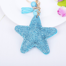 2015 fashion Cute Leather car Key Chain key rings leather tassel rhinestone Star Pendant Women key chain 8 Colors gift wholesale