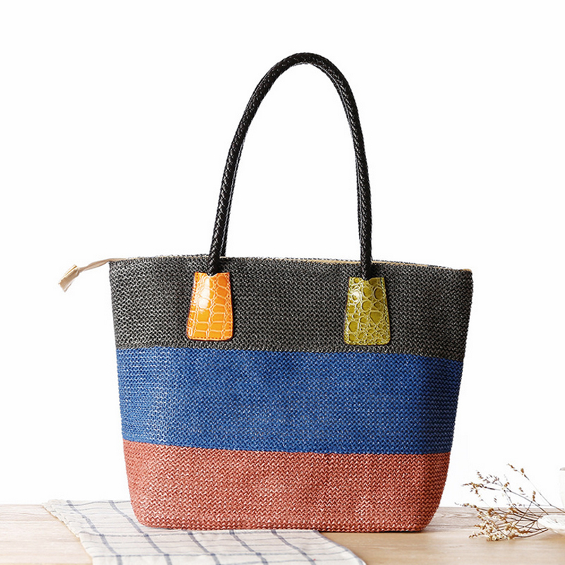 New Women Straw Handbag Summer Weave Woven Tote Shopping Beach Bag Mix Color Handbag Straw Beach Bags Rattan PU Shoulder Bag(China (Mainland))
