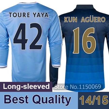 Free shipping Manchester long sleeve soccer jersey 2015 Top Quality Manchester Home Away Jerseys 14 15 camisa Football Shirt(China (Mainland))